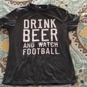 Tops - Gray beer/football graphic tee